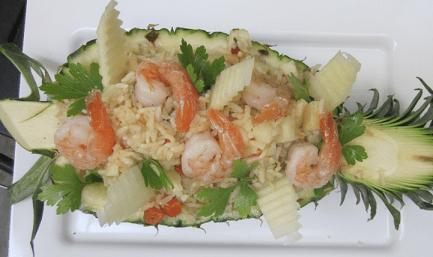 рис с креветками в ананасе рецепт