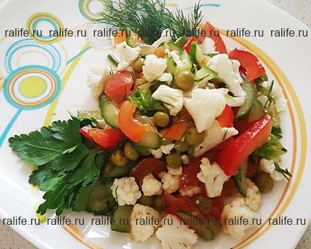 салат овощной с белком