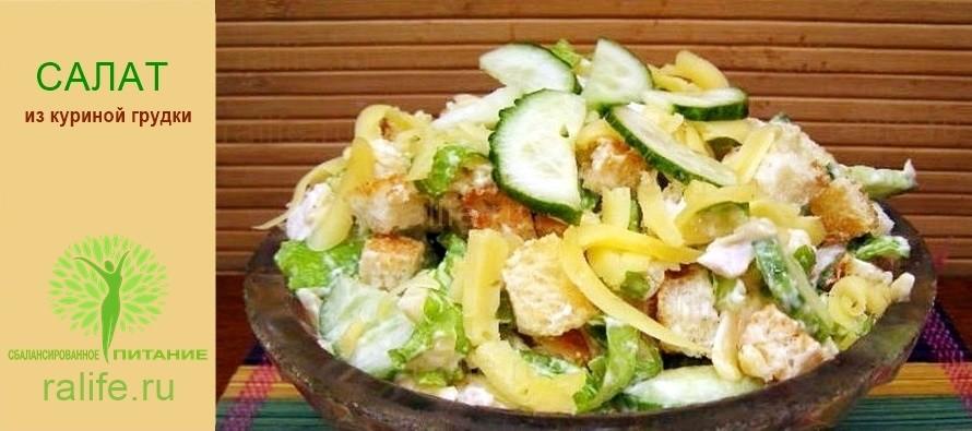 Легкий салат из куриной грудки