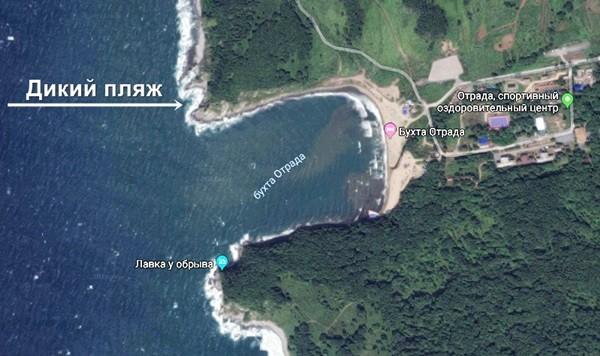 пляж на карте